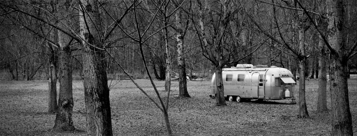 New York, Catskills, airstream in the woods, 2014