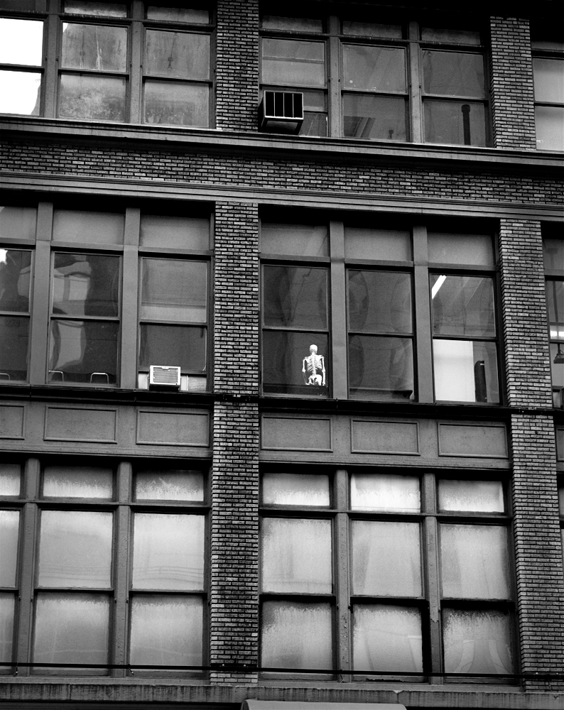 New York, Chelsea, a skeleton in the building